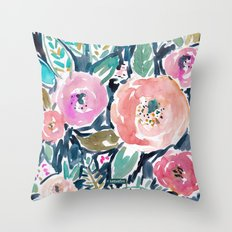 Gardens of Capitola Watercolor Floral Throw Pillow