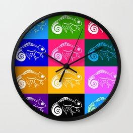 Rainbow chameleon Wall Clock