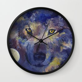 Grey Wolf Moon Wall Clock