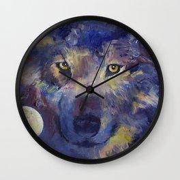 Grey Wolf Moon Wall Clock