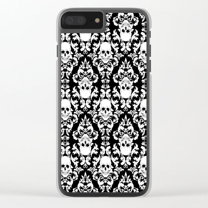 Skull Damask Clear iPhone Case