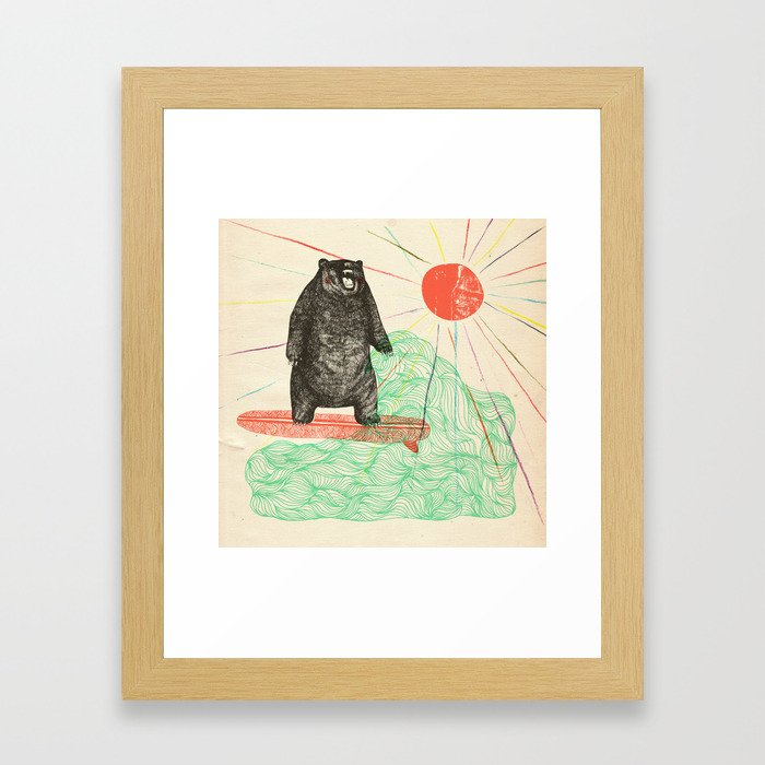 Bustin' Surfboards Bear Framed Art Print