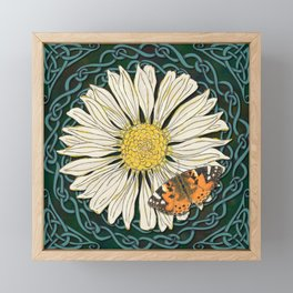 Celtic Daisy and Painted Lady Butterfly Framed Mini Art Print