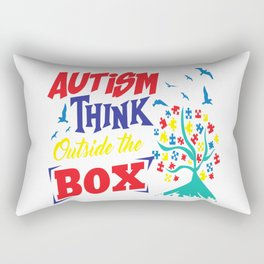 Autism Think Outside Support Awareness Adult Gift Rectangular Pillow