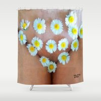 cunt Shower Curtains featuring funny painting BDSM fetish Big dick cock suck oral sex pussy cunt transgender fuck slut bitch by Velveteen Rodent