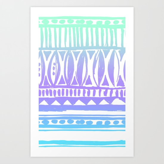 seafoam tribal print Art Print