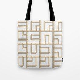 Golden Deco Lines Pattern Tote Bag