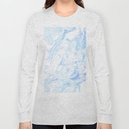 White Marble with Pastel Blue Purple Teal Glitter Long Sleeve T-shirt