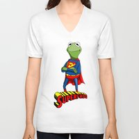 kermit V-neck T-shirts featuring Kermit the Superman by JoshEssel