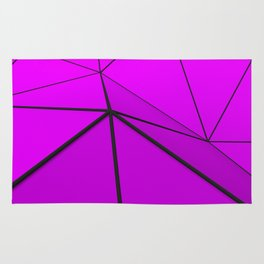 Violet low poly displaced surface with black lines Rug