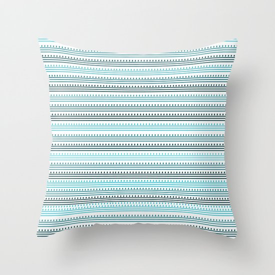 Aqua Lines and Dots Throw Pillow