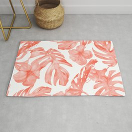 Tropical Hibiscus and Palm Leaves Dark Coral White Rug