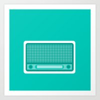 radio Art Prints featuring radio by brittcorry