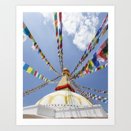 Tibetan prayer flags at Boudha stupa in Kathmandu, Nepal Art Print