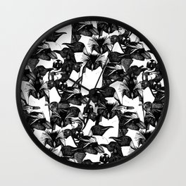 just penguins black white Wall Clock