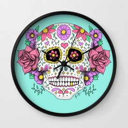 Sugar Skull with Flowers on Turquoise Wall Clock