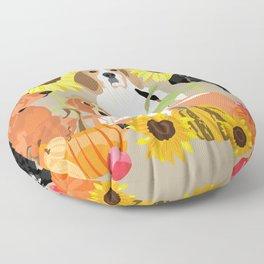 Coonhound Autumn Floor Pillow