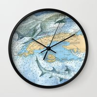 cuba Wall Clocks featuring Cuba Sharks by Carly Mejeur