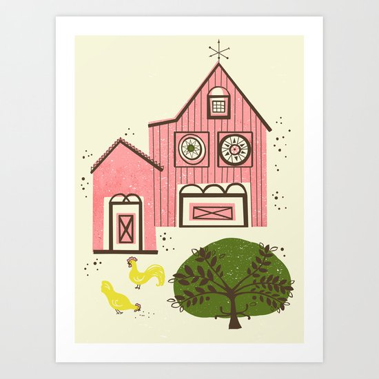 Farm House Pink Art Print