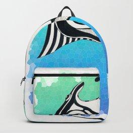 Manta Ray Tribal Tattoo Ink Teal Blue Backpack