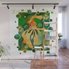 Happy Nowruz Persian New Year Goldfish In Green Sea Wall Mural