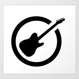 Guitar Black Ink Stamp Art Print