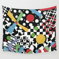 tape Wall Tapestries featuring Ticker Tape by Patricia Shea Designs