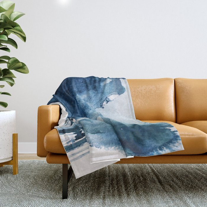 Pacific Grove: a pretty minimal abstract piece in blue by Alyssa Hamilton Art Throw Blanket