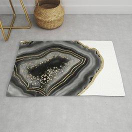 Black Night Agate Gold Foil Glam #1 #gem #decor #art #society6 Rug