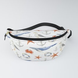 Watercolor nautical pattern Fanny Pack