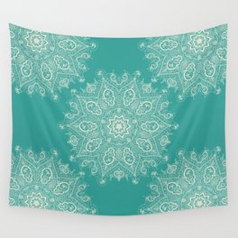 Teal and Lace Mandala Wall Tapestry