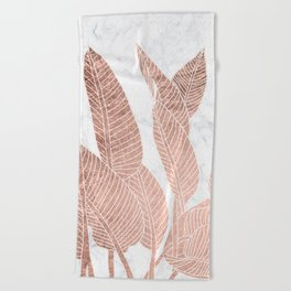 Modern faux Rose gold leaf tropical white marble illustration Beach Towel