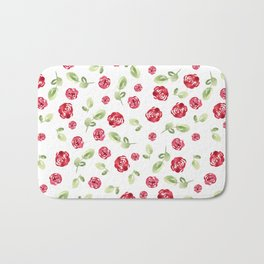 Red Roses Watercolor // Hand Painted // Watercolor Roses and Leaves Bath Mat
