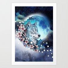 wolf and sakura in the moolight Art Print