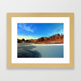 Frozen river panorama | waterscape photography Framed Art Print