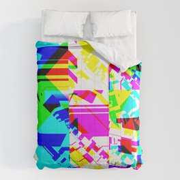 Glitch geometric pattern design artwork Comforters