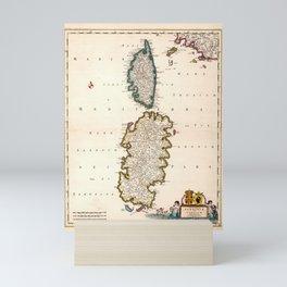 Vintage Sardinia and Corsica Map (1682) Mini Art Print