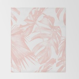 Tropical Leaves Pink and White Throw Blanket