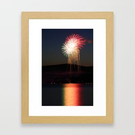 Fireworks over Pleasant Lake, New London NH Framed Art Print