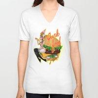 junk food V-neck T-shirts featuring Junk Food by Artetak
