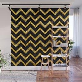 Art Deco Glitter-Gold Zigzag Lines on Black Pattern Wall Mural