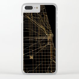 Black and gold Chicago map Clear iPhone Case