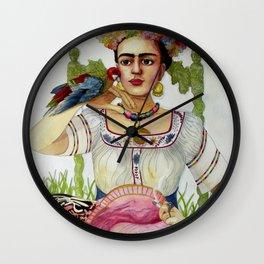 Frida Kahlo in the garden Wall Clock