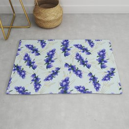 Hand painted watercolor lavender flower bloom, provence Rug