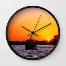 Sunset River Cruise in Africa Wall Clock