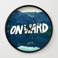onward Wall Clocks featuring Onward by Good Sense