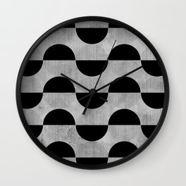 Black abstract 60s circles on concrete - Mix & Match with Simplicty of life Wall Clock