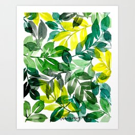 Print of Watercolor Leaves Painting Art Print