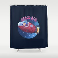 toddler Shower Curtains featuring Space ace by Artificial primate