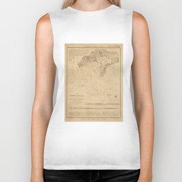 Vintage Map of Hyannis Harbor MA (1850) Biker Tank